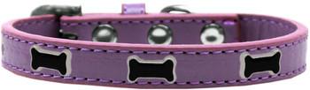 Black Bone Widget Dog Collar - Lavender