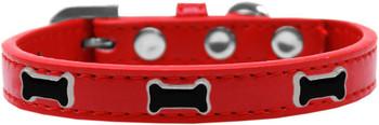 Black Bone Widget Dog Collar - Red