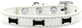 Black Bone Widget Dog Collar - White
