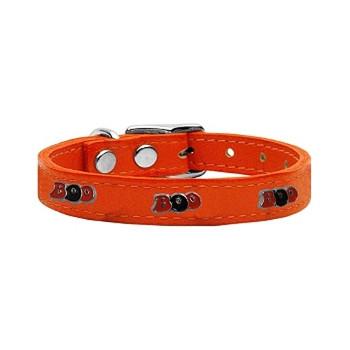 Boo Widget Genuine Leather Dog Collar - Orange