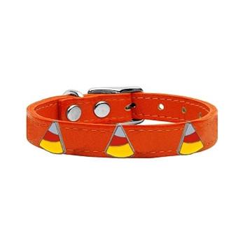Candy Corn Widget Genuine Leather Dog Collar - Orange