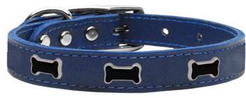 Black Bone Widget Genuine Leather Dog Collar - Blue