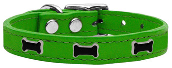 Black Bone Widget Genuine Leather Dog Collar - Emerald Green