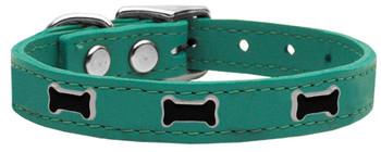 Black Bone Widget Genuine Leather Dog Collar - Jade