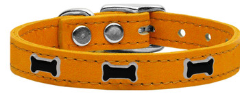 Black Bone Widget Genuine Leather Dog Collar - Mandarin