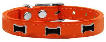 Black Bone Widget Genuine Leather Dog Collar - Orange