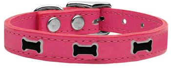 Black Bone Widget Genuine Leather Dog Collar - Pink
