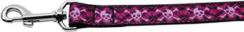 Hot Pink Plaid Skulls Nylon Dog Leash