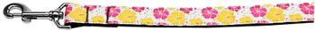 Pink And Yellow Hibiscus Flower Nylon Dog Leash