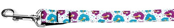 Blue And Purple Hibiscus Flower Nylon Dog Leash
