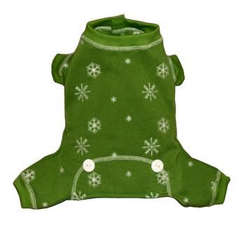 Green Snowflake Long Johns Dog Pajamas