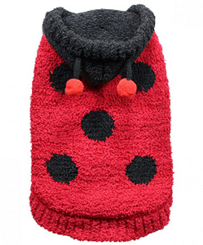 Chenille Lady Bug Dog Hooded Sweater by Hip Doggie