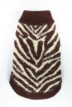 FeatherSoft Zebra Dog Sweater - Brown