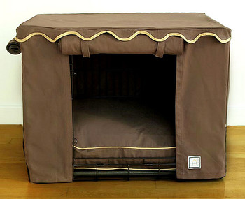 Teak Brown Dog Crate Cover & Optional Bed