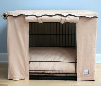Stone Beige Dog Crate Cover & Optional Bed