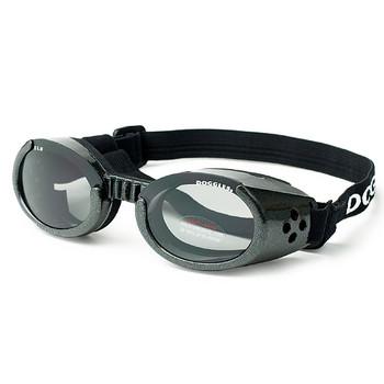 Metallic Black Pet Dog Sunglasses Doggles ILS with Light Smoke Lens
