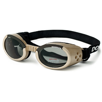 Chrome Pet Dog Sunglasses Doggles ILS with Light Smoke Lens
