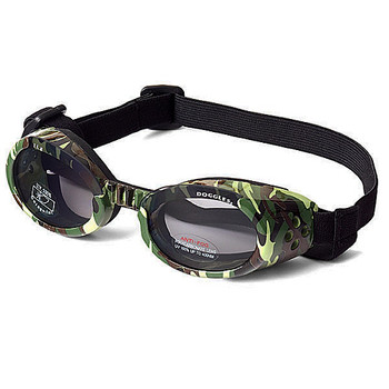 Green Camo Pet Dog Sunglasses Doggles ILS with Light Smoke Lens