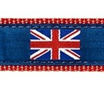 British Flag on Navy 1.25 inch Dog Collar, Harness