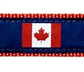 Canadian Flag 3/4 & 1.25 inch Dog Collar, Harness