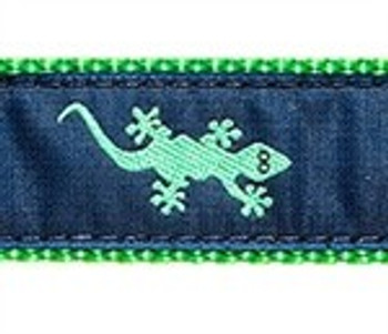 Green Gecko on Navy 3/4 & 1.25 inch Dog Collar, Harness