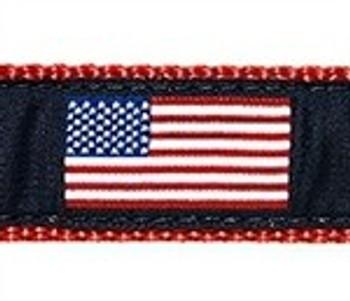 American Flag 3/4 & 1.25 inch Dog Collar, Harness