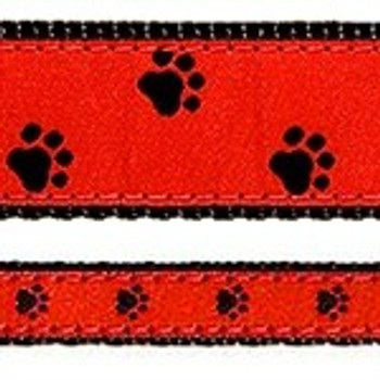Black Paw on Red 1/2, 3/4 & 1.25 inch Dog & Cat Collar & Harnesses