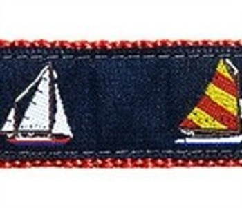 4 Sailboats 1.25 inch Dog Collar & Harness