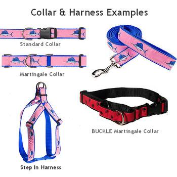 Blue Palm Tree 1.25 inch Dog Collar & Harness