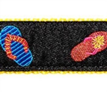 Black Flip Flop Dog Collars