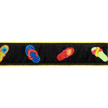 Black Flip Flop 3/4 & 1.25 inch Dog Collar, Harness