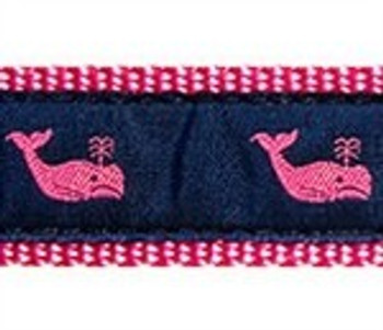 Whales Pink On Navy 1/2, 3/4 & 1.25 inch Dog & Cat Collar, Harness