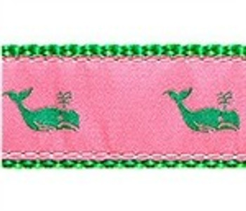 Whales Kelly Green on Pink 1/2, 3/4 & 1.25 inch Dog & Cat Collar, Harness