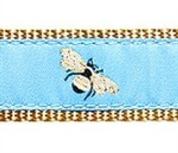 Blue Bumblebee 1/2, 3/4 & 1.25 inch Dog & Cat Collar, Harness