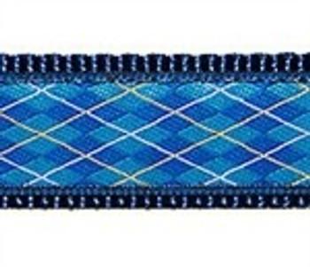 Blue Argyle - 1/2, 3/4 & 1.25 inch Dog & Cat Collar, Harness