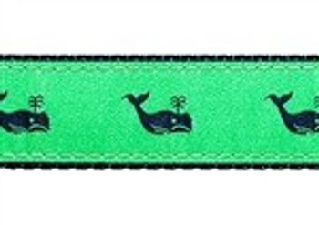 Whales Navy on Kelly Green 1/2, 3/4 & 1.25 inch Dog & Cat Collar, Harness