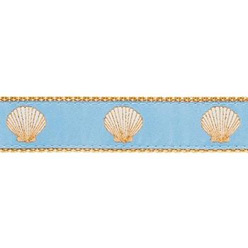 Light Blue Scallop Shells 3/4 & 1.25 inch Dog Collar, Harness
