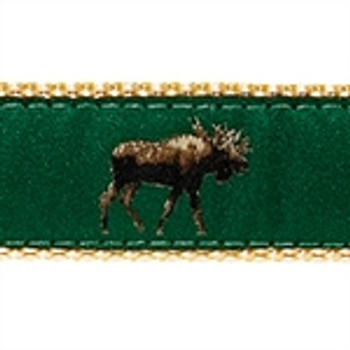 Moose on Dark Green Dog Collars