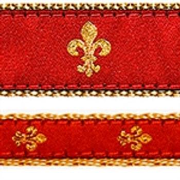 Red Fleur de Lis Dog Collars