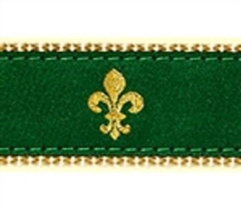 Green Fleur de Lis Dog Collars