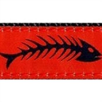 Fishbones Red & Black Dog Collars