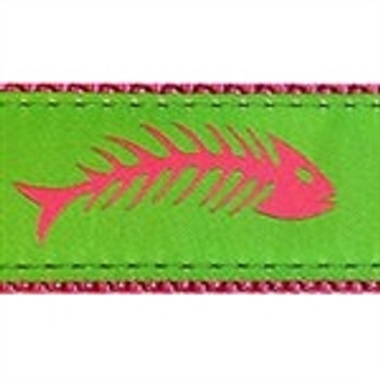 Fishbones Pink & Green Dog Collars