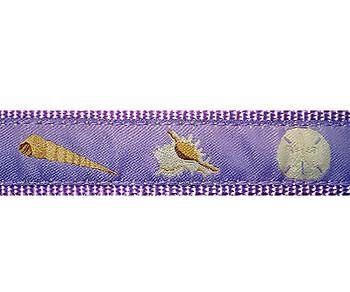 Lilac Seashells 3/4 & 1.25 inch Dog Collar