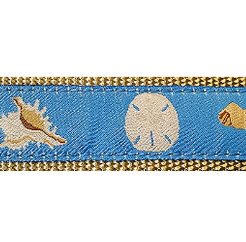 Light Blue Seashells 3/4 & 1.25 inch Dog Collar