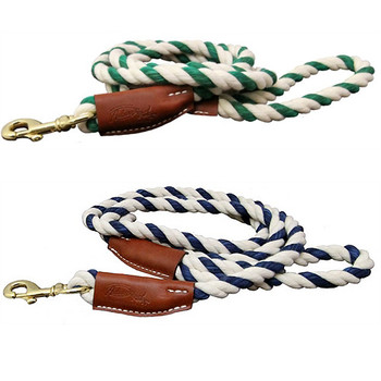 Natural Cotton and Leather Rope Pet Dog Leashes - Navy and Green