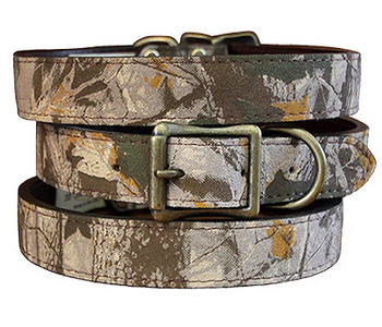 Camouflage Grey Leather Dog Collar