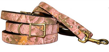 Camouflage Pink Leather Dog Collar