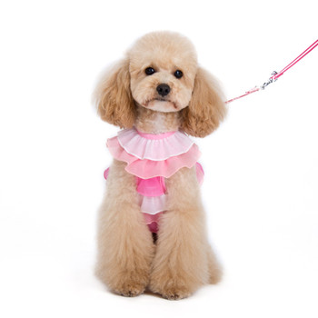 EasyGO Pink Multi-Ruffle Pet Dog Harness & Leash