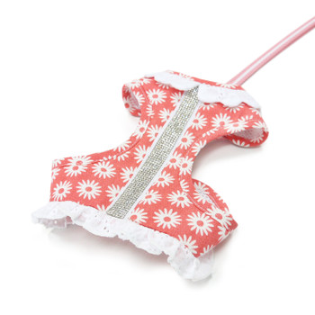 EasyGO Pink Flower Bling Pet Dog Harness & Leash