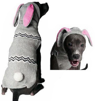 Bunny Hoodie Hand Knit Dog Sweaters